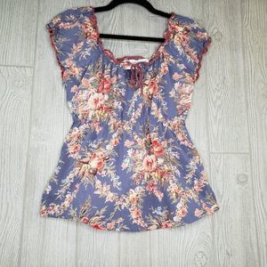 Funky People Scoop Neck Floral Sleeveless Shirt